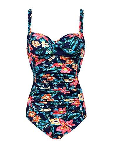 Ekouaer One Piece Swimwear Women's Push up Swimsuit Tummy Control Bathing Suit Tankini(Green Flower Red Large)