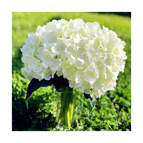 Enova Home Artificial Hydrangea Silk Flowers Bouquet Flower Arrangements for Home Wedding Decoration (flower without vase)