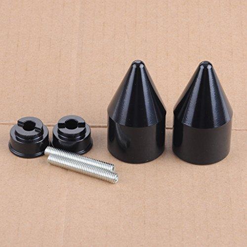 Bar Black Ends Spike (Wotefusi Black Spike Handle Bar End Weight Grip Cap For Honda CBR 250 600RR 600 900RR 929RR 954RR 1000RR Goldwing GL1800 VFR800 CB919 VTR RC51 Super Blackbird CBR1100XX)