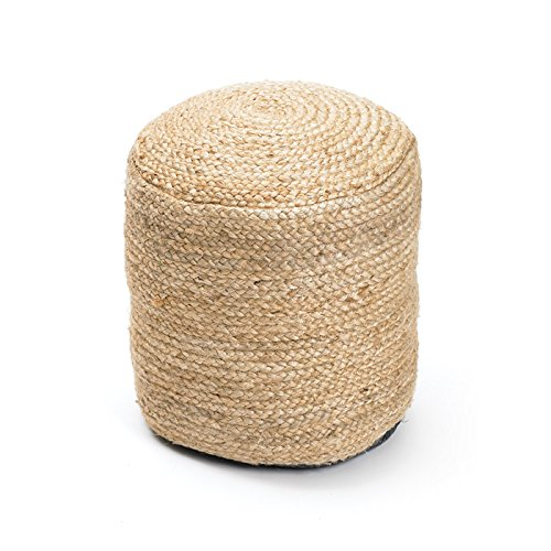 Eclipse Home Collection Round Braided Hemp Pouf 20'' H x 17'' Dia.
