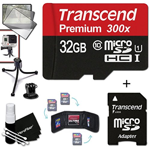 Transcend 32GB MicroSDHC Class10 300x High Speed Memory Card + Adapter KIT for GoPro Hero4 Session, HERO4 Hero 4, Hero3+ Hero 3+, HERO3 Hero 3, HERO2 Hero 2, Hero 3 Black / Silver Edition, Hero2 Outdoor Edition Hero 960, HD Motorsports HERO, Surf Hero, He by Transcend