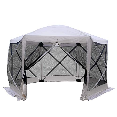 (Outsunny 11.5'x11.5' 6-Sided Hexagonal Pop Up Portable Gazebo Canopy Tent with Mesh Netting Sidewalls- Beige and Black )