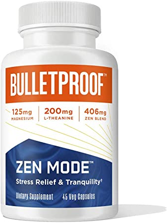 Zen Mode, 45 Capsules, with Vitamin B6, Magnesium, L-Theanine, 5-HTP, GABA, Holy Basil & Ashwagandha, Bulletproof Supplement for Stress & Anxiety Support, Boosts Serotonin for Calm Mood & Relaxation
