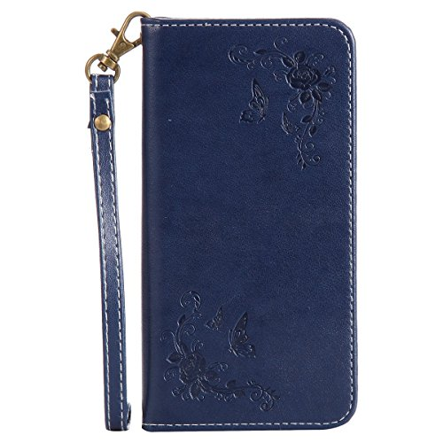 Lite Cloth Strap (Huawei P10 Lite Wallet Case, PU Leather Pattern Card Holder & Wrist Strap Flip Folio Case For Huawei P10 Lite 2017 (Huawei P10 Lite, Navy Blue))