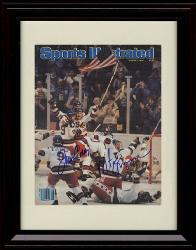 (Framed 1980 US Olympic Hockey Sports Illustrated Autograph Replica Print -)