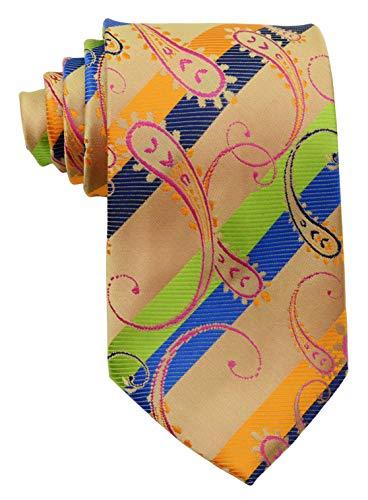 Scott Alone : New Classic Paisley Orange Blue Green.new Jacquard Woven Silk Mens Tie Necktie