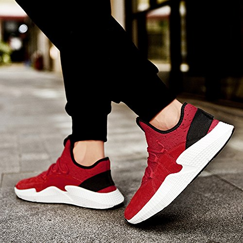 Men's Shoes Feifei Spring and Autumn Leisure Fashion Tide Shoes 3 Colors (Size Multiple Choice) (Color : Red, Size : EU39/UK6/CN39)