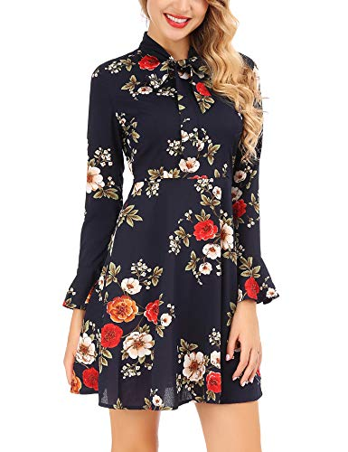 Floral Chiffon (FISOUL Women's Casual Chiffon Long Bell Sleeve Floral Print Fit and Flare Dress(Navy Blue,X-Large))