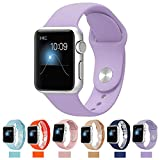 Apple Watch Replacement Band,Teslasz Soft Silicone Replacement Sports Wristbands Straps for Apple iWatch All Models(Lavender 42 MM)