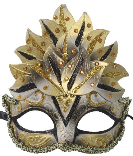 RedSkyTrader Womens Glitter Crown Mask One Size Fits Most Gold Black Silver (Male Glitter Mardi Gras Mask)