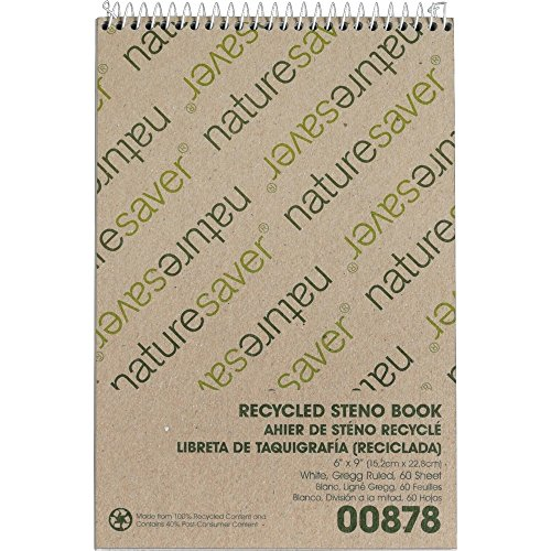 Nature Saver Recycled Notebook - Nature Saver 00878 Steno Notebook, Gregg Ruled, 60 Sheets, 6