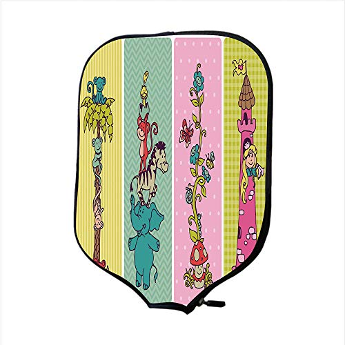 (Neoprene Pickleball Paddle Racket Cover Case,Nursery,Vintage Children Banner Set Animals Safari Palm Tree Flowers Princess Mushroom,Multicolor,Fit for Most Rackets - Protect Your Paddle)