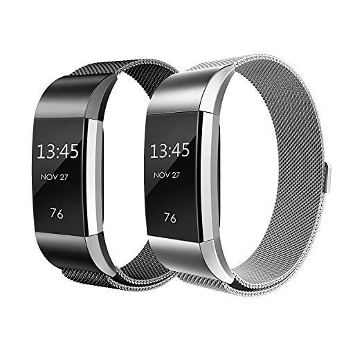 Bands for Fitbit Charge 2, SailFar Magnetic Clasp Mesh Loop Milanese Stainless Steel Metal Bracelet Strap/Watch Band for Fitbit Charge 2,Small/Large, Men/Women, Small, Black + Silver