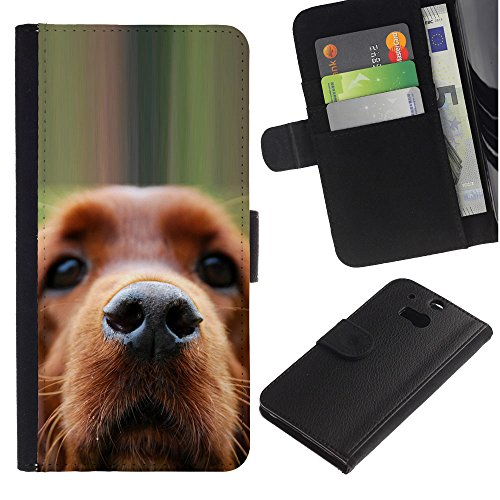 EuroCase - HTC One M8 - golden retriever dog muzzle brown - Cuero PU Delgado caso cubierta Shell Armor Funda Case Cover