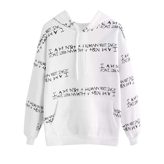 Sweatshirt Long Hoodie Femme Sweats à Capuche Pas Cher A Manche Longues I  Am A Human bf18f7e706d5