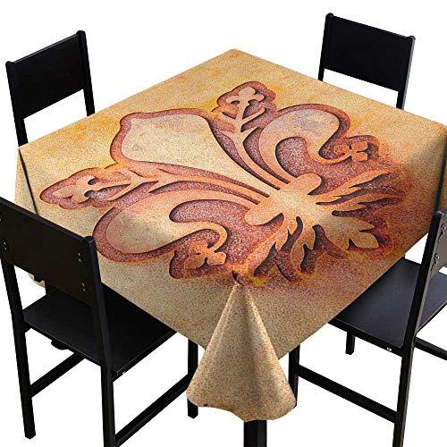 (SKDSArts Square Table Cover Fleur De Lis,Lily Flower Symbol on Plate Floral Design Royal Arms France Sign Cultural Print, Orange,W36 x L36 Square Tablecloth)