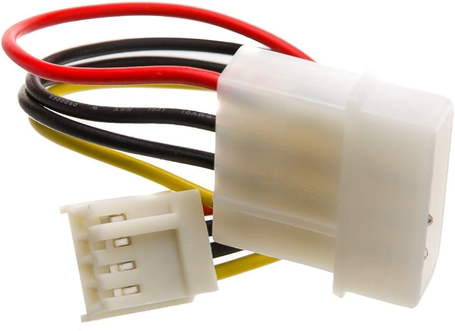 """Kentek 6/"""" 4 Pin Molex 5.25 Male To 4 Pin 3.5 Floppy Drive FDD Female Power Cable"""