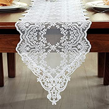 Tina Wedding Party Home Decoration Embroidered Lace Table Runner And Scarves White, 12x60""