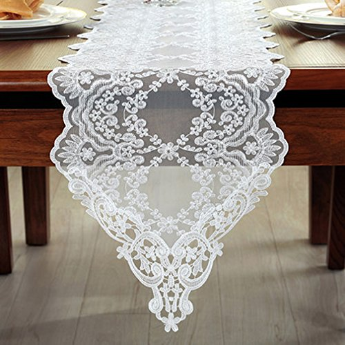 Tina Wedding Party Home Decoration Embroidered Lace Table Runner And Scarves White, 12x60