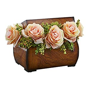 Nearly Natural 1591-PH Roses Artificial Decorative Chest Silk Arrangements, Peach 75