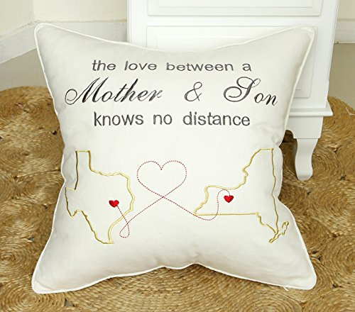 DecorHouzz Long distance Love Pillow cases Embroidered Map Pillowcover Mother Son Gift Personalized Cushion Cover Customized Birthday Gift
