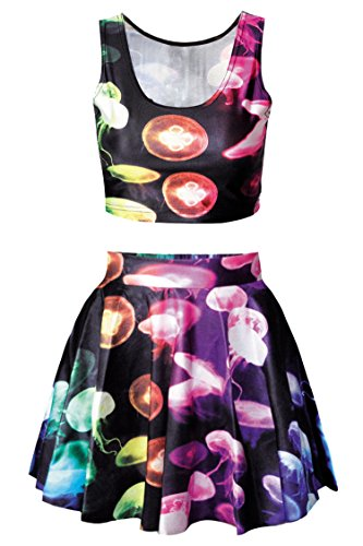 Pink Queen Girls Jellyfish Print Digital Tank Tops Tees High Waisted Skirt]()
