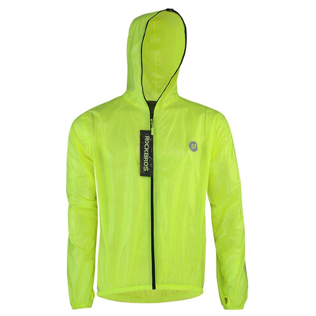 RockBros Men's Rain Jacket Cycling Jacket Waterproof Skin Coat with Folding Bag Outdoor Sports Burning Man Windproof Rain Jersey Green XL