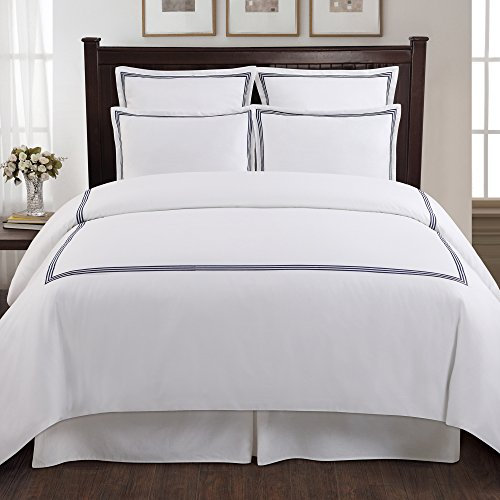 Echelon Home Three Line Hotel Collection Duvet Cover Set, King, Navy