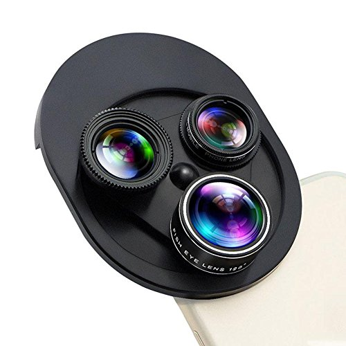 Camera Lens Kit for iPhone, Thosdt 4 in 1 Cell Phone Camera Lens for iPhone 6 /6s/6s Plus 7/7s Plus Samsung Android Smartphone 0.63X Supper Wide Angle Lens,15X Macro Lens,198°Fisheye Lens,CPL Lens by Thosdt
