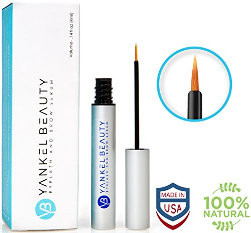 Eyelash Growth Serum - Eyelash Serum For Thicker, Stronger & Longer Lashes And Eyebrows - Enhancing Eyelash Conditioner By Yankel Beauty – All Natural Eyelash Treatment For Lashes & Brows