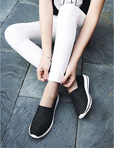 HWF Chaussures femme Tressé Femme Été Mesh Chaussures Respirant Courir Mouvement Casual Une Pédale Femmes Chaussures Plat Net Unique ( Couleur : Noir , taille : 38 ) Noir