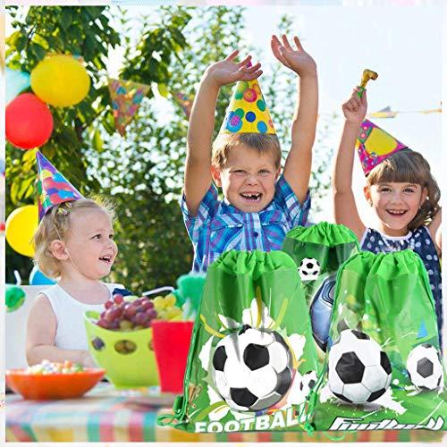 DreamJing 9 Packs Football Drawstring Bag Football Party Bags Football Drawstring Backpacks for Kids Girl Boy Birthday Party Favors Gym Bags PE Bags