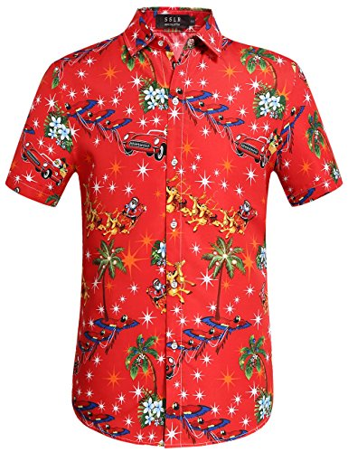 SSLR Men's Santa Claus Holiday Party Hawaiian Ugly Christmas Shirt (Meidum, Red) ()
