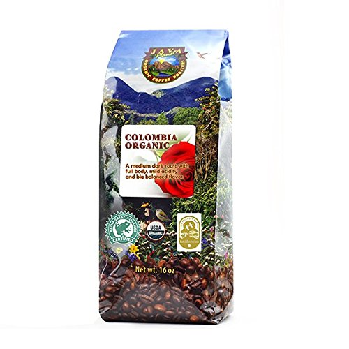 Java Planet - Colombian USDA Organic Coffee Beans, Fair Trade, Low Acid, Medium Dark Roast, Arabica Gourmet Specialty Grade A (1lb)