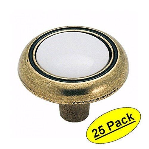 Amerock BP76244-WB Antique Brass with White Ceramic Center Cabinet Hardware Knob - 1-1/4