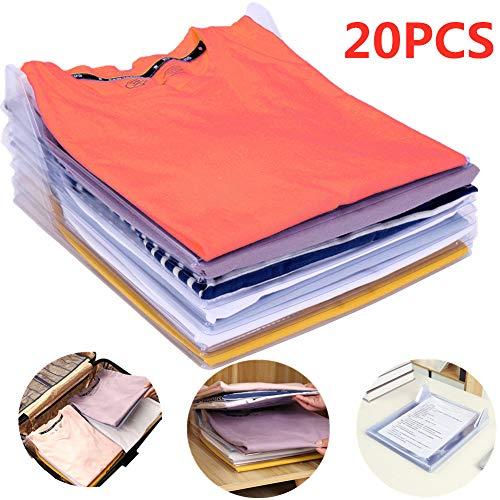 Nifogo Organizador de Camisetas,Camiseta Carpeta - Antihumedad y Antiarrugas,Tamano Normal(20-Pack)
