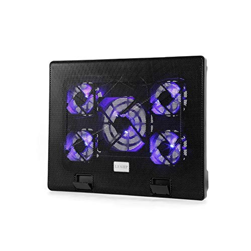 E.I.H. Notebook Cooling Pad LESHP S500 5 Big Fan 2 USB Laptop Cooler Cooling Pad Base LED Notebook Cooler Computer Fan Stand for Laptop PC Video 12-17'' by E.I.H. (Image #5)