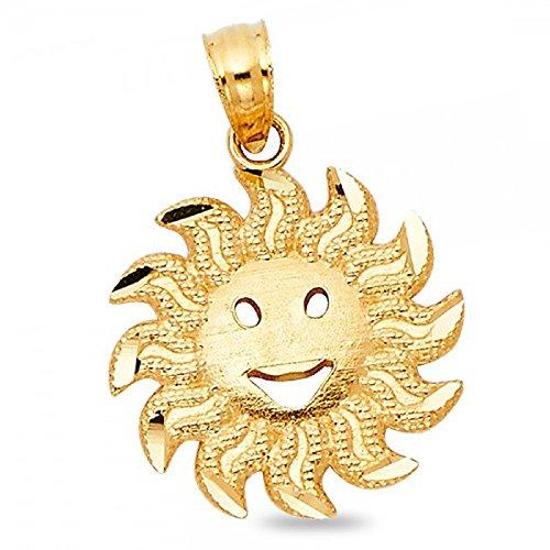 Gold Smiling Sun Charm - Solid 14k Yellow Gold Smiling Sun Pendant Cute Charm Diamond Cut Fancy Design Genuine 15 x 15 mm