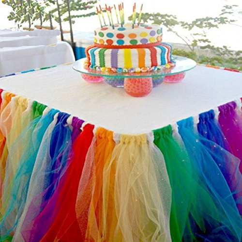 Stuffwholesale Fitted Tulle Table Skirt Baby Shower Birthday Party Cake Table Decoration (Rainbow)]()