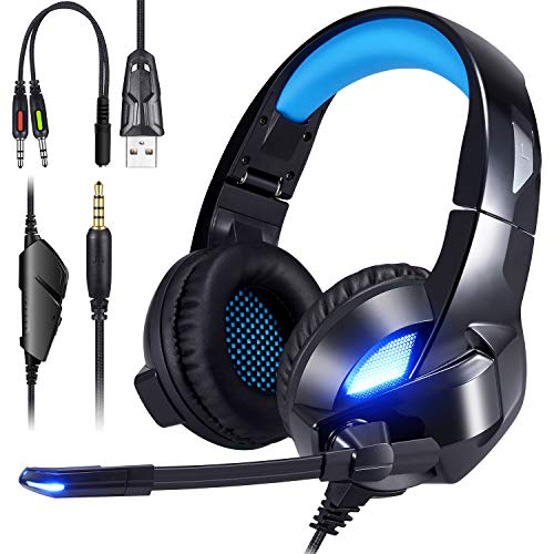 - ShinePick 3.5mm Wired PS4 Gaming Headset Bass Stereo Noise Isolation Gaming Headphone with Mic and LED Lights for Playstation 4 Xbox One PC Phone(Black-Blue)