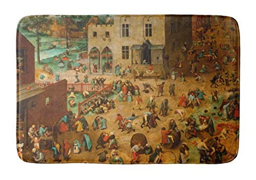 - Aomsnet Bathroom Decor Mat, Shower Rug Mat Water Absorbent Fast Drying, for Kitchen, Bedroom, Hotel, Spa Tub 30x18 Inches with Non Slip Backing Bath Mat Pieter Bruegel The Elder Children S Games 1560