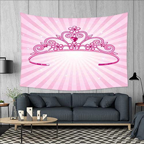 smallbeefly Kids Tapestry Wall Tapestry Beautiful Pink Fairy Princess Costume Print Crown with Diamond Image Art Art Wall Decor 60