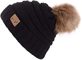 shtzjbhahah&forever Womens Winter Knitted Beanie Hat with Faux Fur Warm Knit Skull Cap Beanie