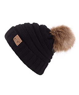shtzjbhahah&forever Womens Winter Knitted Beanie Hat with Faux Fur Warm Knit Skull Cap Beanie Black