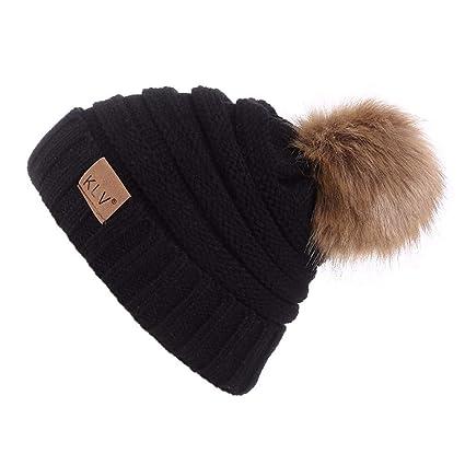 33d21bdc49d27 Challyhope Women Men Warm Faux Fur Pom Pom Beanie Hat Soft Cable Knit Winter  Fleece Lined