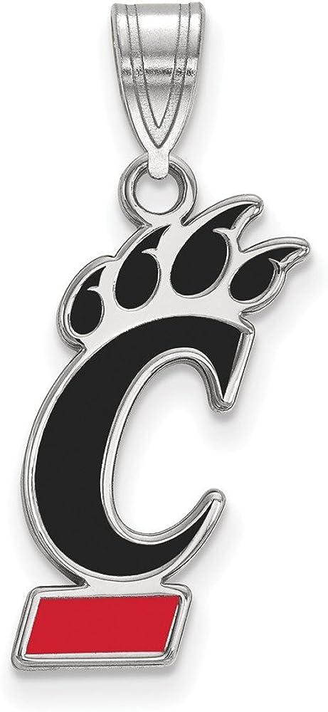 Collegiate University of Cincinnati Sterling Silver LogoArt University of Cincinnati Large Enamel Pendant