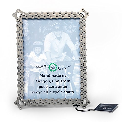 Bike Chain Picture Frame by Resource Revival | Recycled Bicycle Photo holder | Created for the Adventurer - 5x7