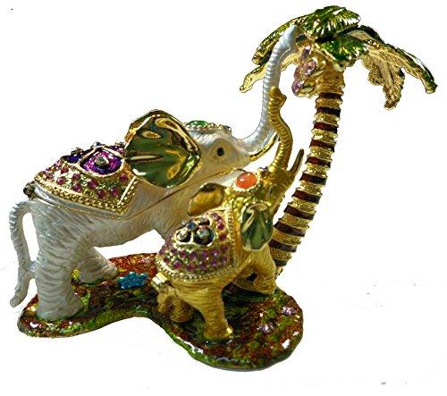 [NEW] Jewelry Trinket Box Figurine Case Vintage Collectible for Keepsake Art Decor Holder Organizer Pill Box - Magnet Secured Storage, Jeweled w/ Swarovski Crystals ( Elephants ) (Tree Elephant 1)