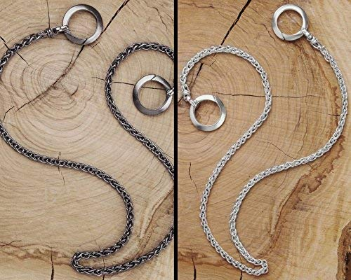 (Silver Wallet Chain, Silver Keychain, Oxidized Silver Chain, Solid Silver Chain, Black Silver, 925 Sterling Silver, Wheat Chain For Wallet, Gift For Him/code:)
