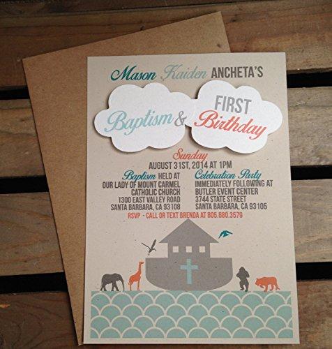Noahs Ark Invitation   Baptism Birthday Invitation   Boy Or Girl   Recycled Kraft   Eco